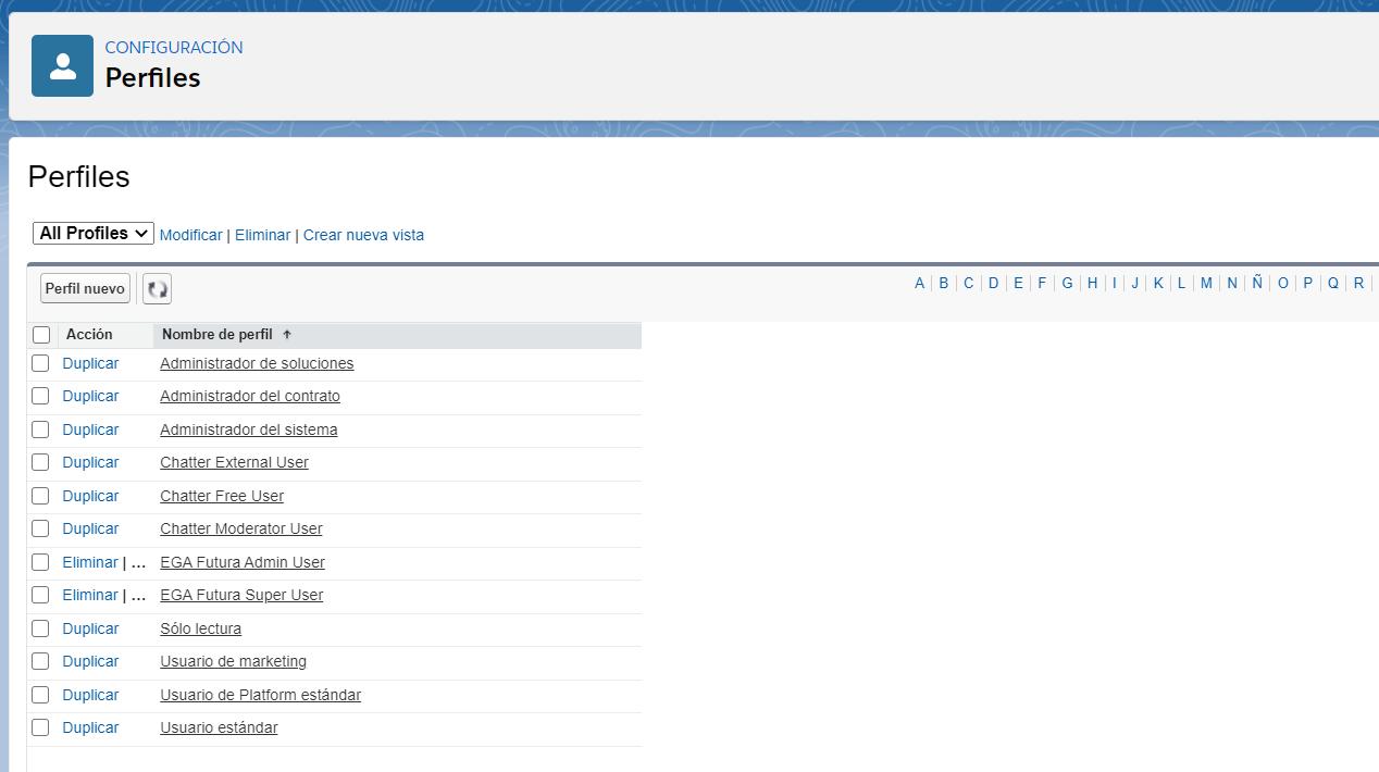 Perfil uso nivel acceso usuario plataforma EGA Futura ERP nube