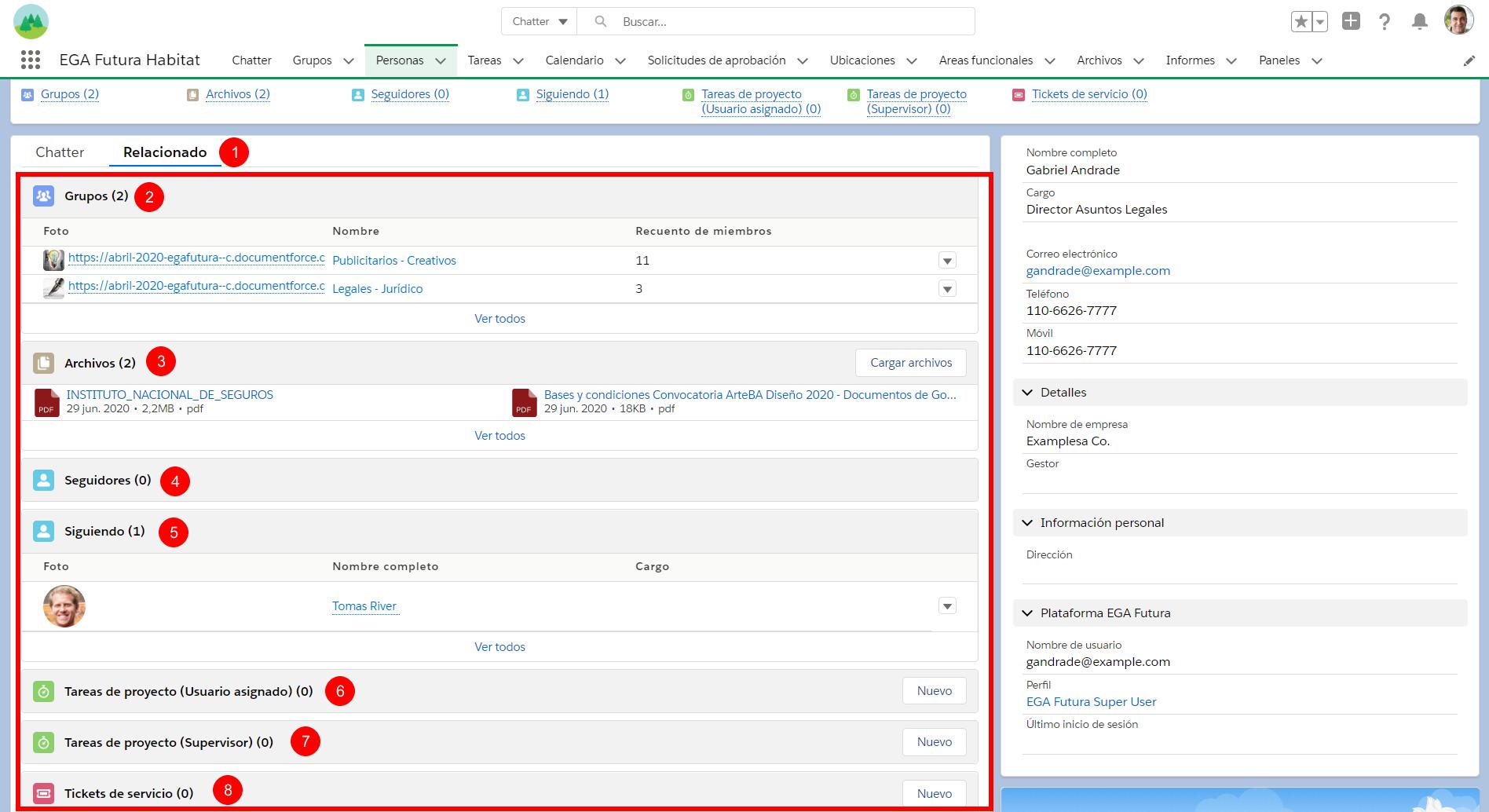 Listas relacionadas perfil usuario EGA Futura ERP nube