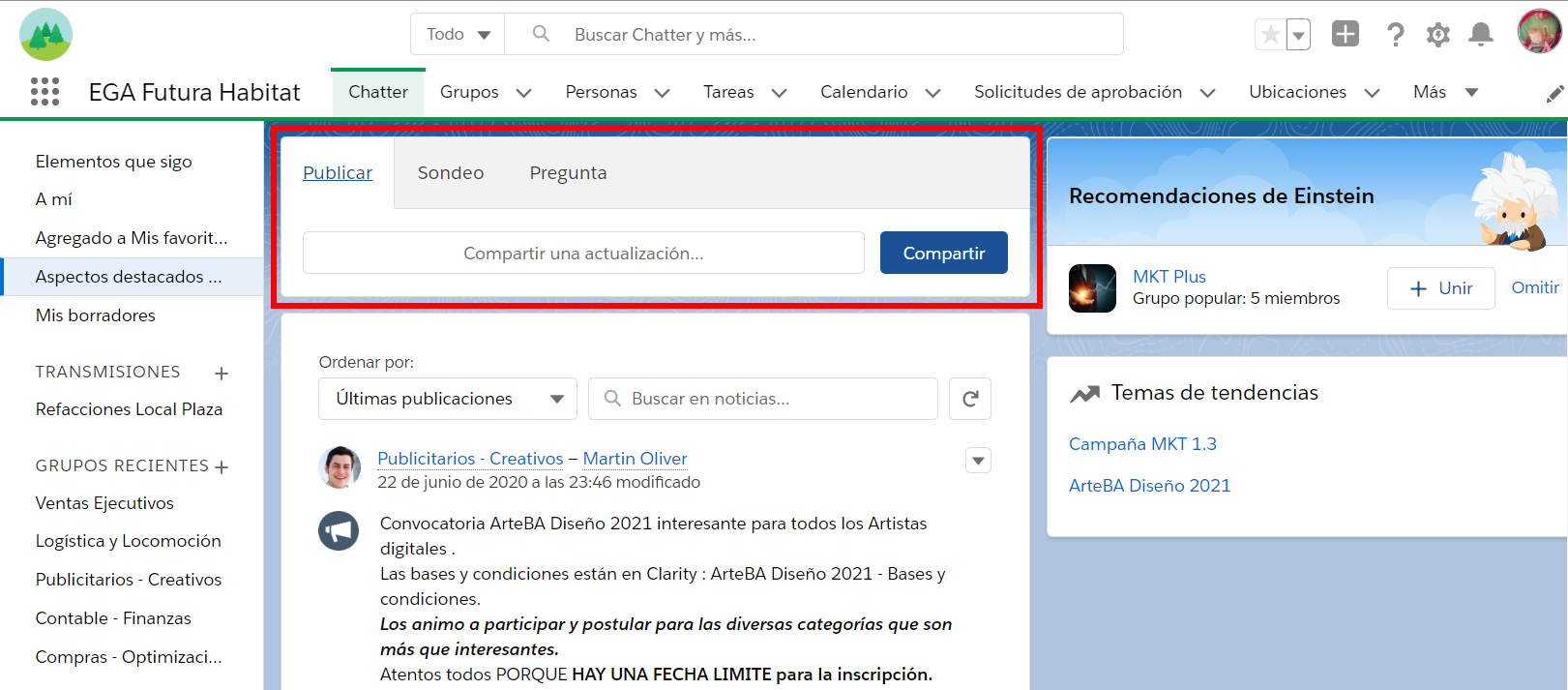 Publicador de Chatter Plataforma EGA Futura ERP Nube