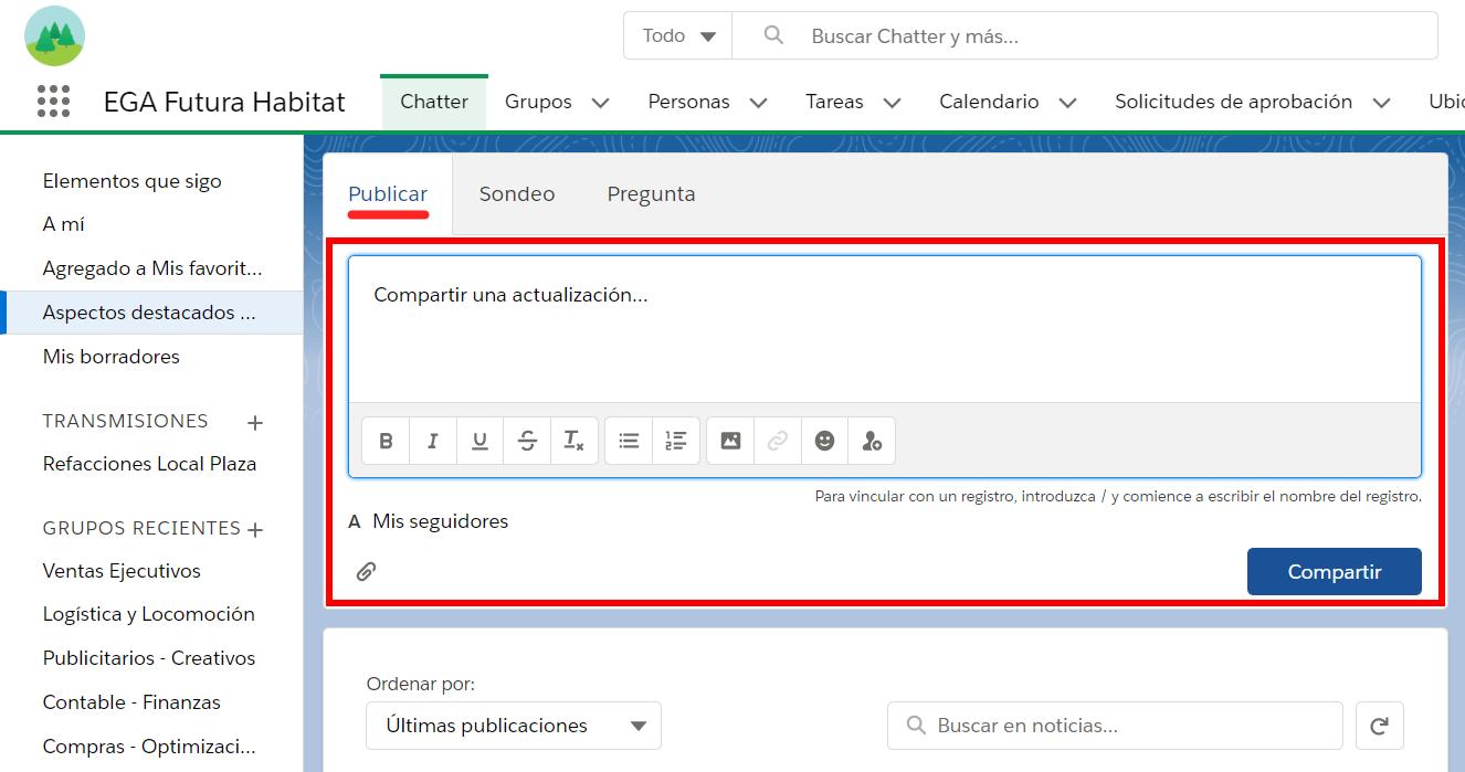 Cuadro texto publicar actualizacion Chatter EGA Futura ERP nube