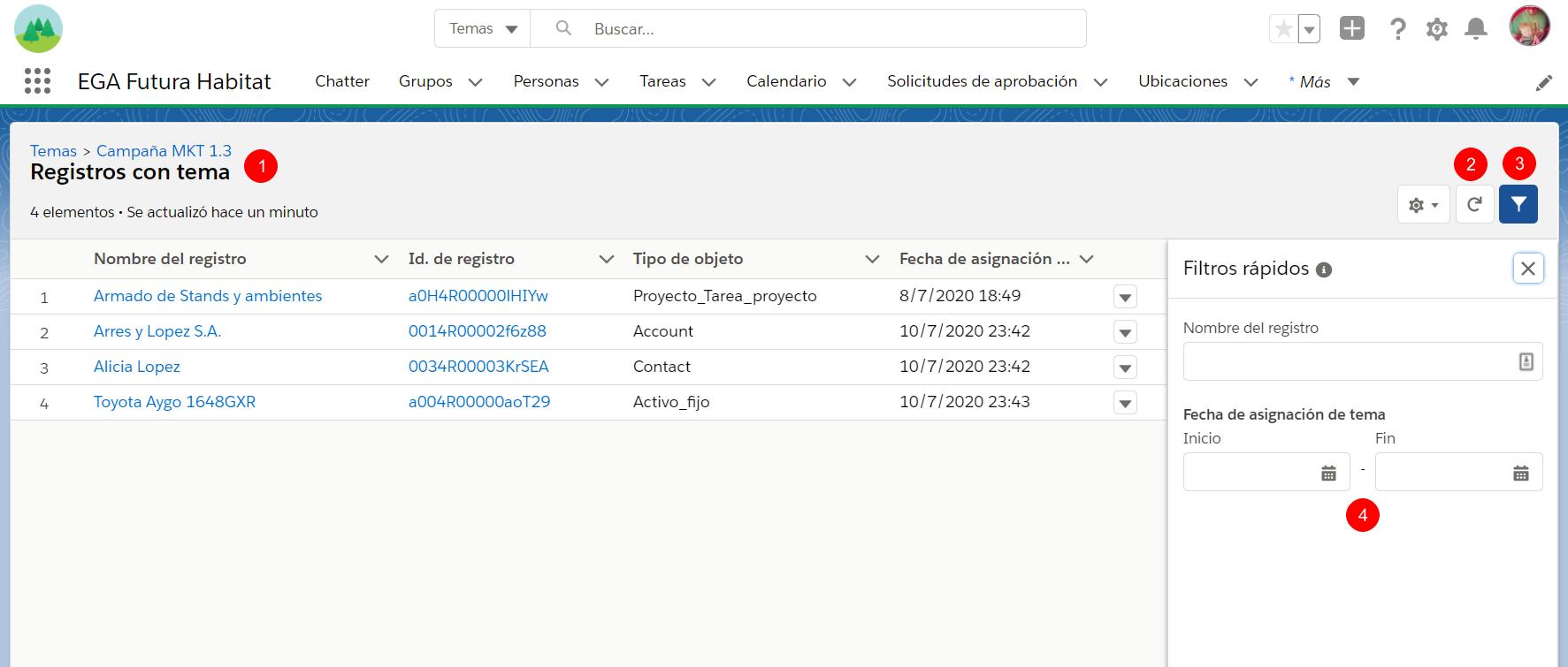 Lista registros con tema hashtag EGA Futura ERP nube