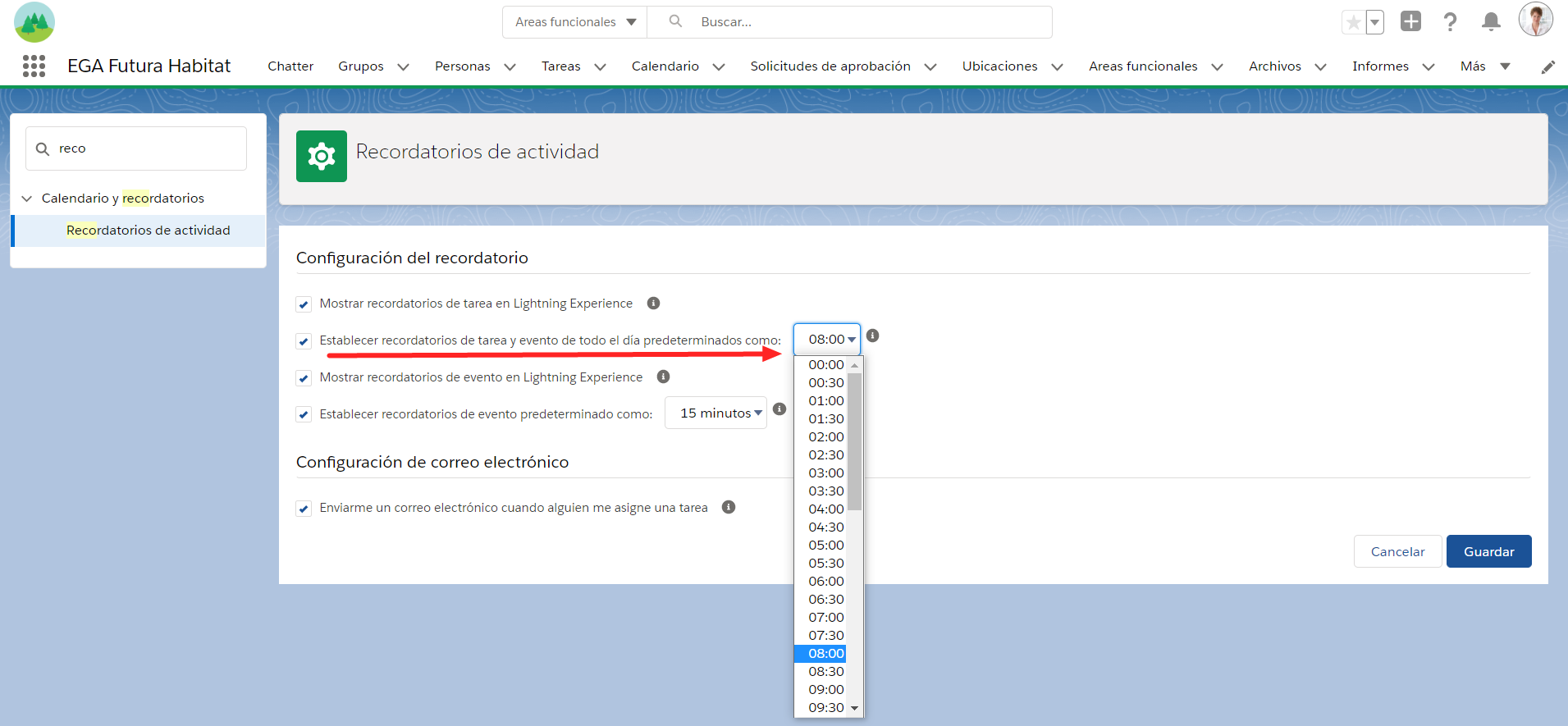 configuracion horario recordatorio eventos tareas todo el dia EGA Futura ERP nube