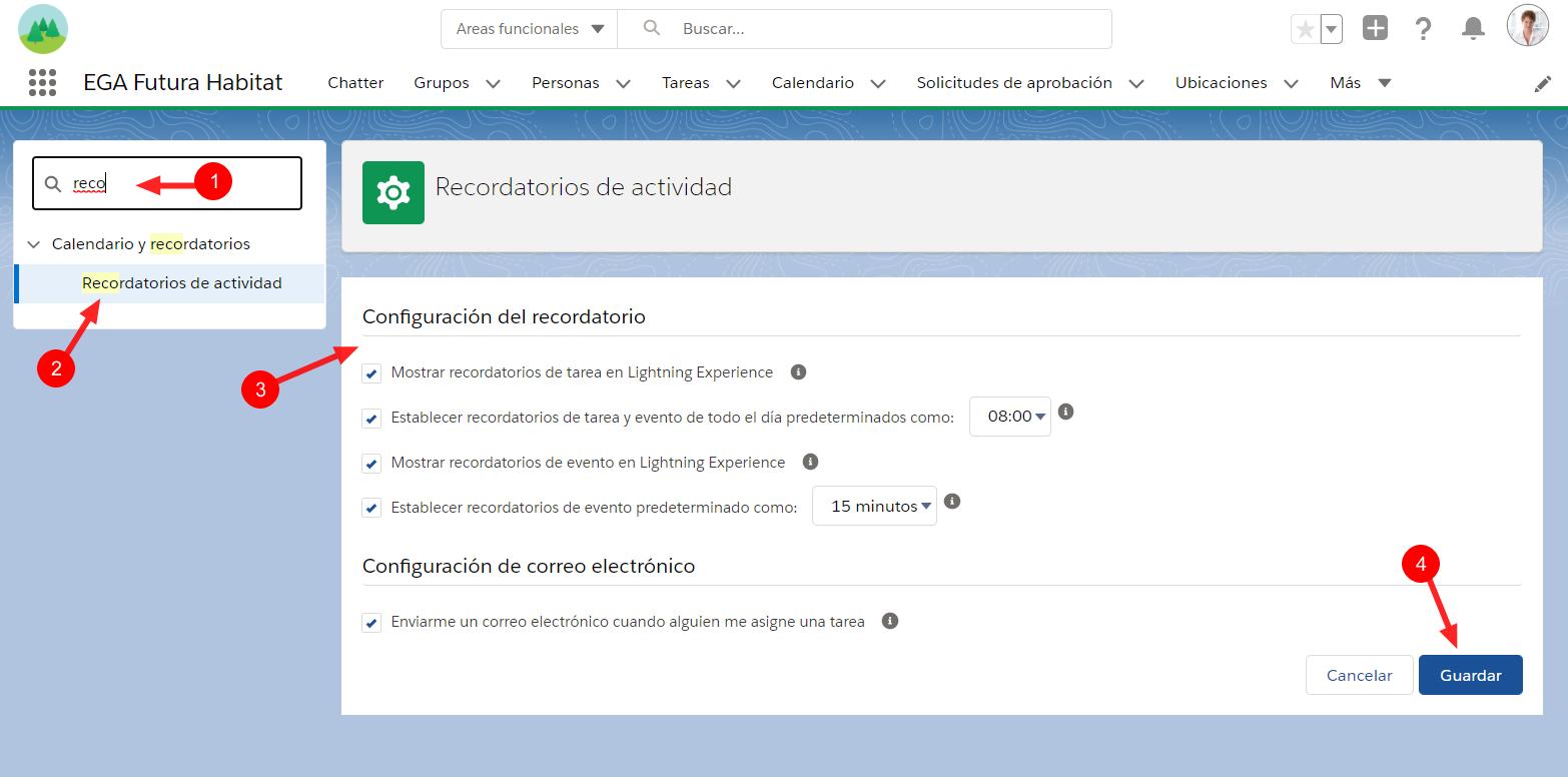 Configuración de recordatorios de actividades tareas eventos EGA Futura ERP nube