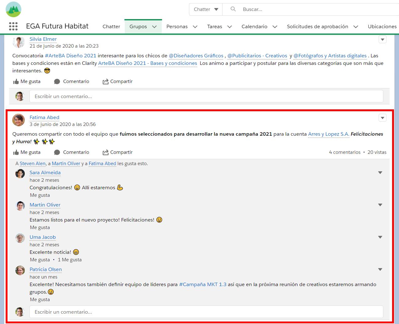 Comentarios de una publicacion de Chatter EGA Futura ERP nube