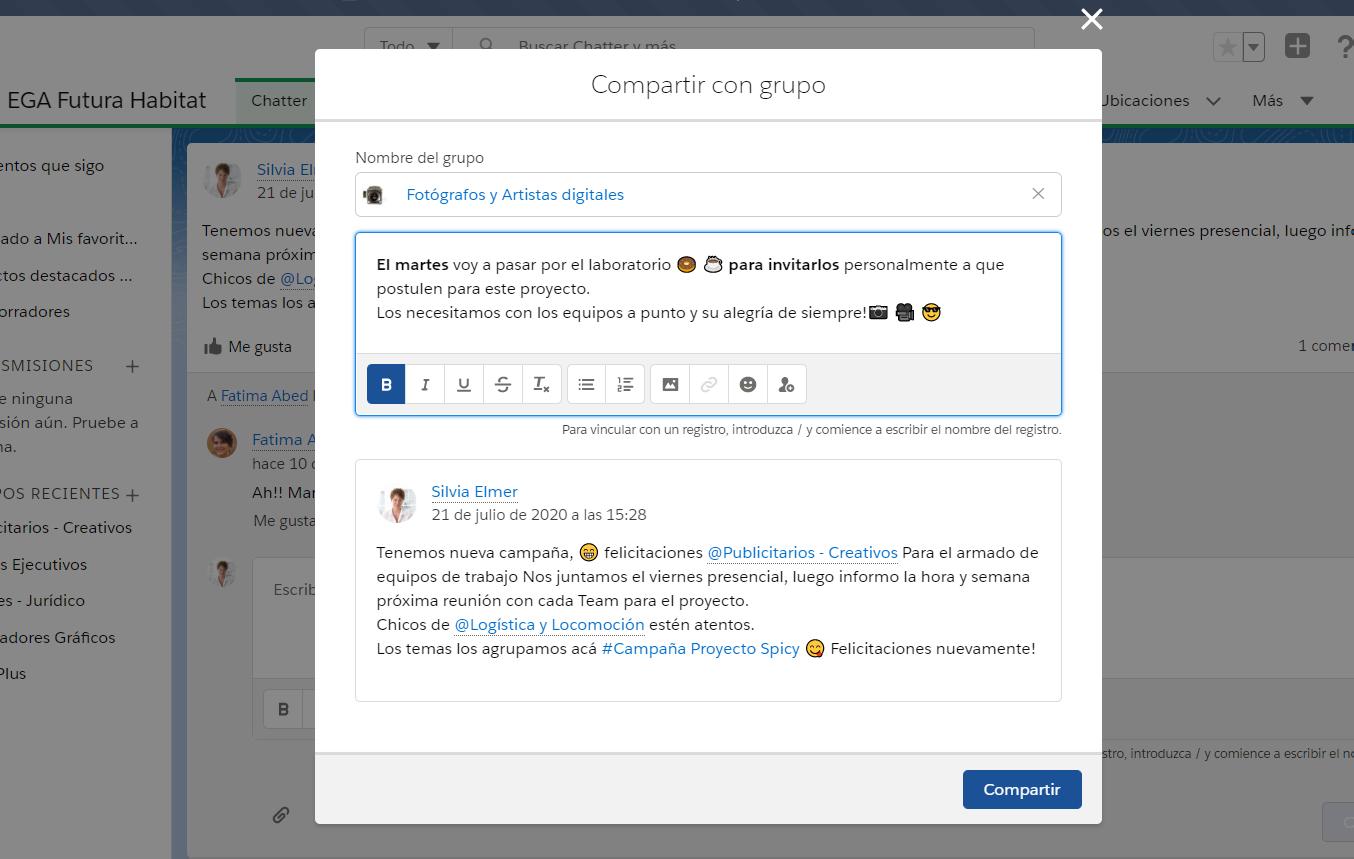 Compartir publicacion con Grupo Chatter EGA Futura ERP nube