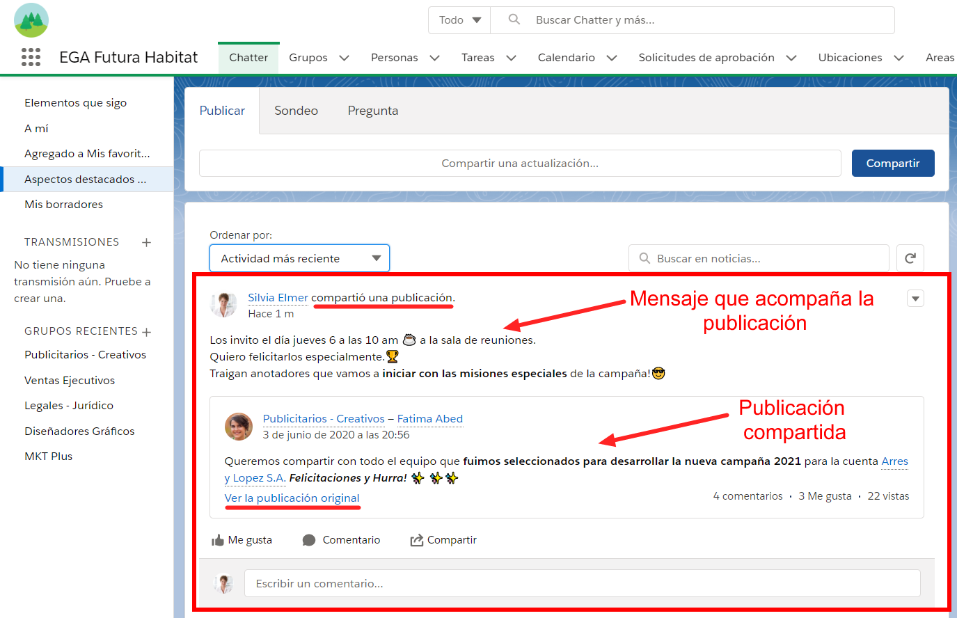 Publicacion Chatter compartida a seguidores EGA Futura ERP nube