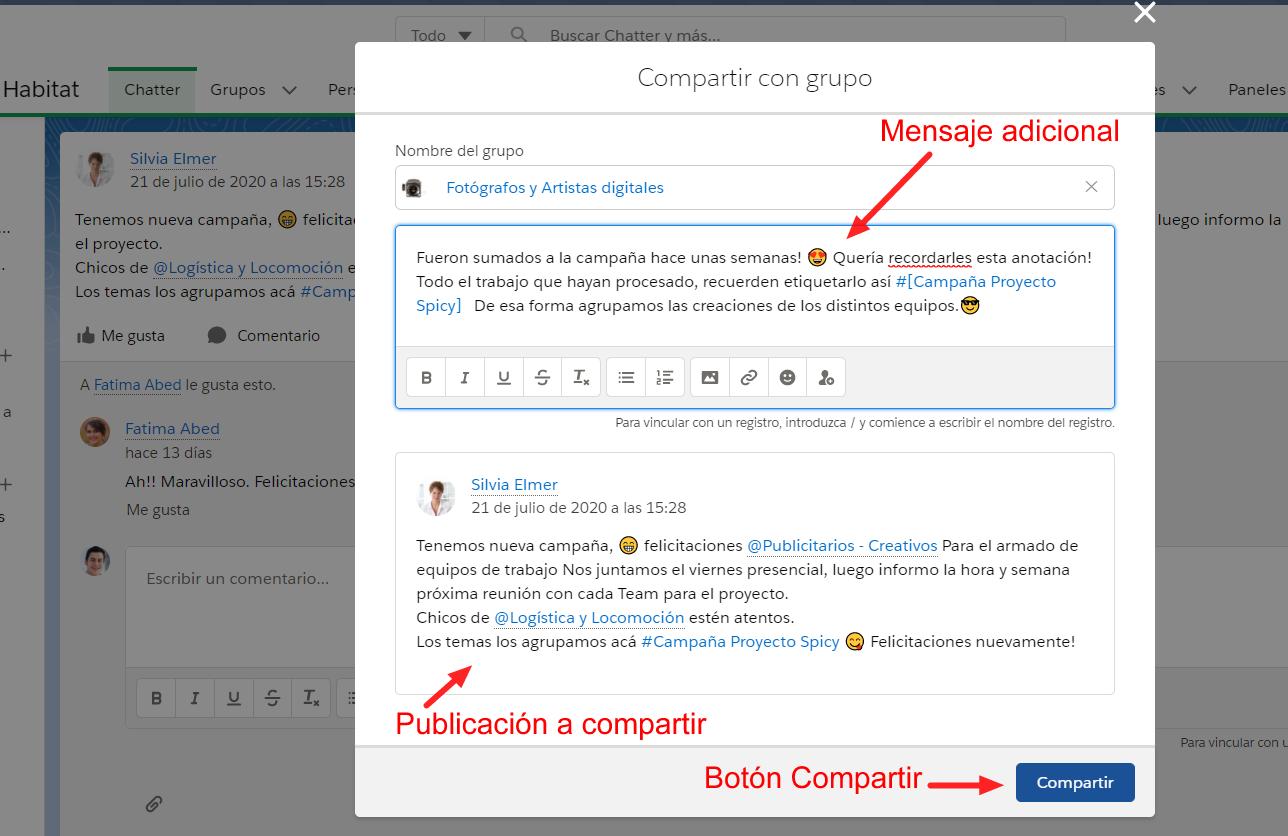 Compartir publicacion Chatter EGA Futura ERP nube