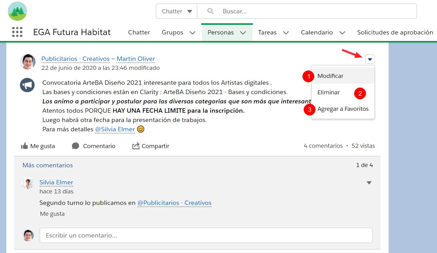 Menu acciones Modificar eliminar agregar favorita publicacion comentario Chatter EGA Futura ERP nube