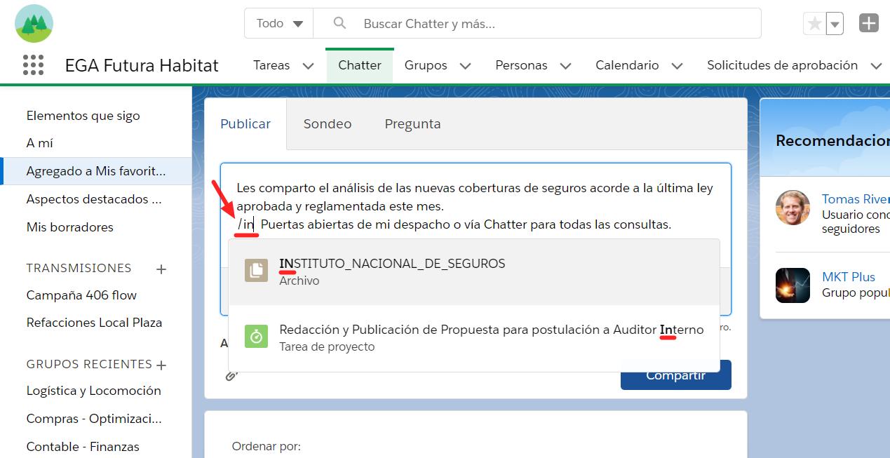 Vincular registro publicacion comentario barra inclinada Chatter EGA Futura ERP nube