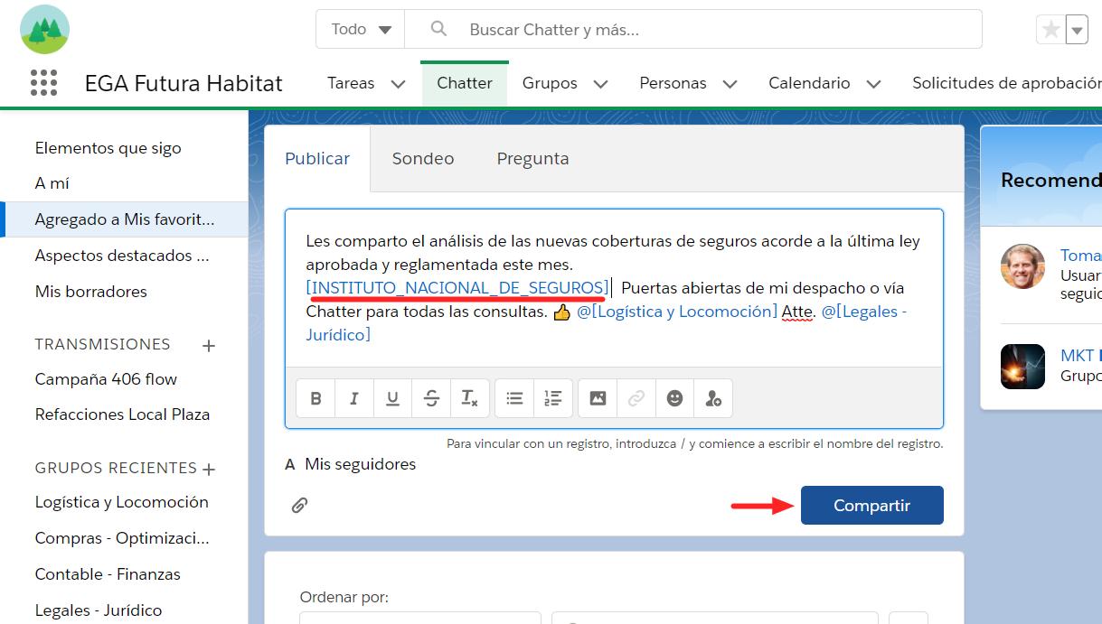 Vincular registro publicacion comentario Chatter EGA Futura ERP nube