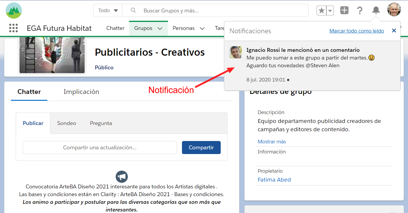 Notificacion campana de notificaciones Universal Notification Service UNS bell EGA Futura ERP nube