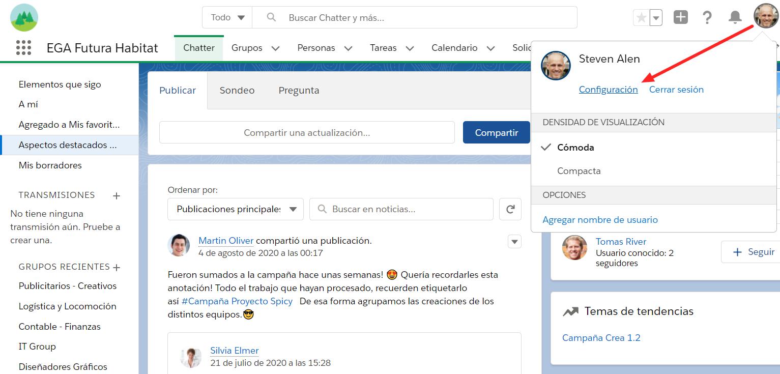 Acceso Configuracion personal desde foto perfil usuario EGA Futura ERP nube