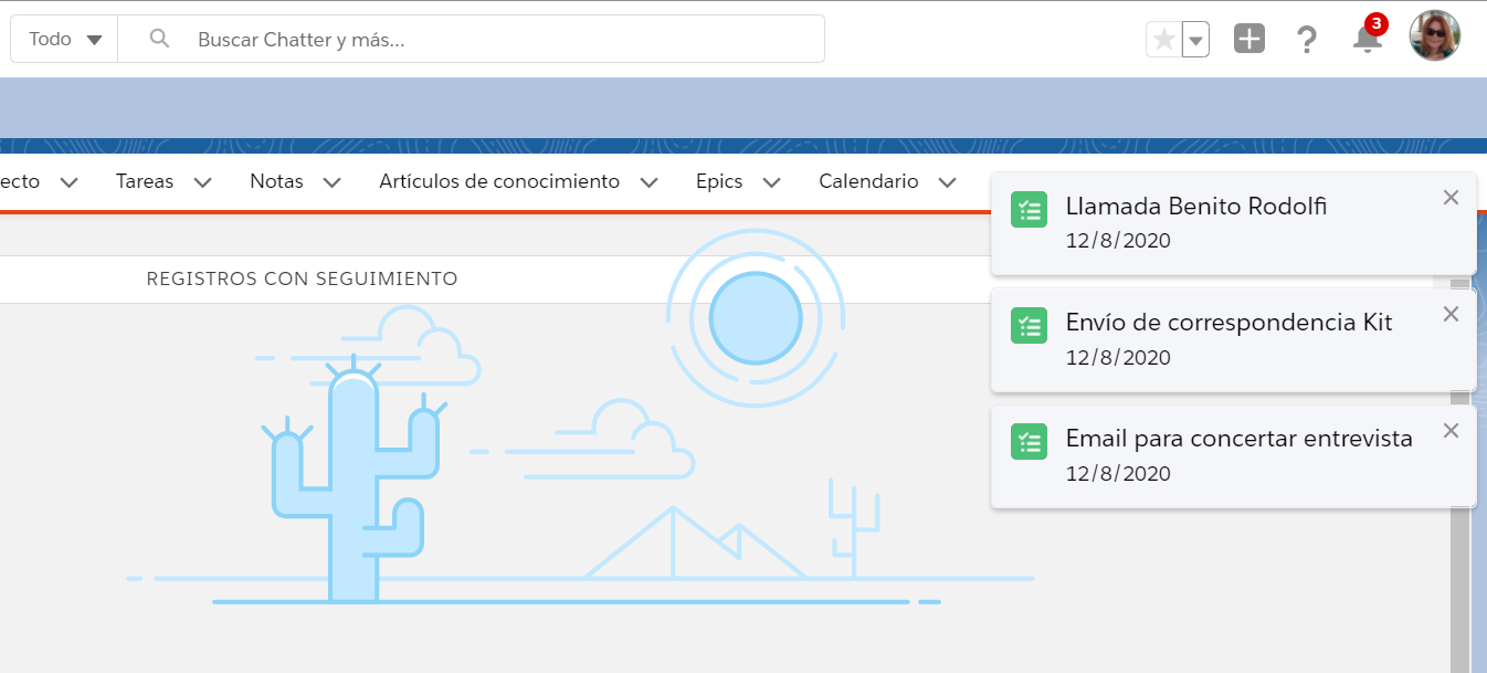 Tarjeta notificacion actividades tareas eventos EGA Futura ERP nube