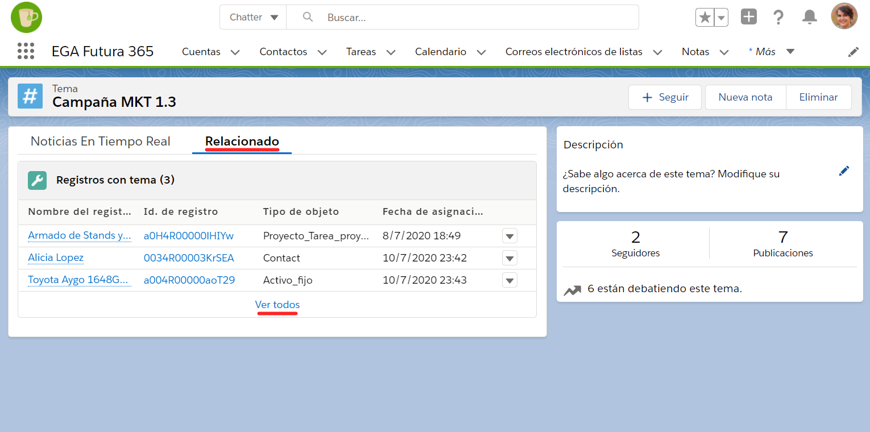 Pestaña registros relacionados pagina detalles tema hashtag EGA Futura ERP nube