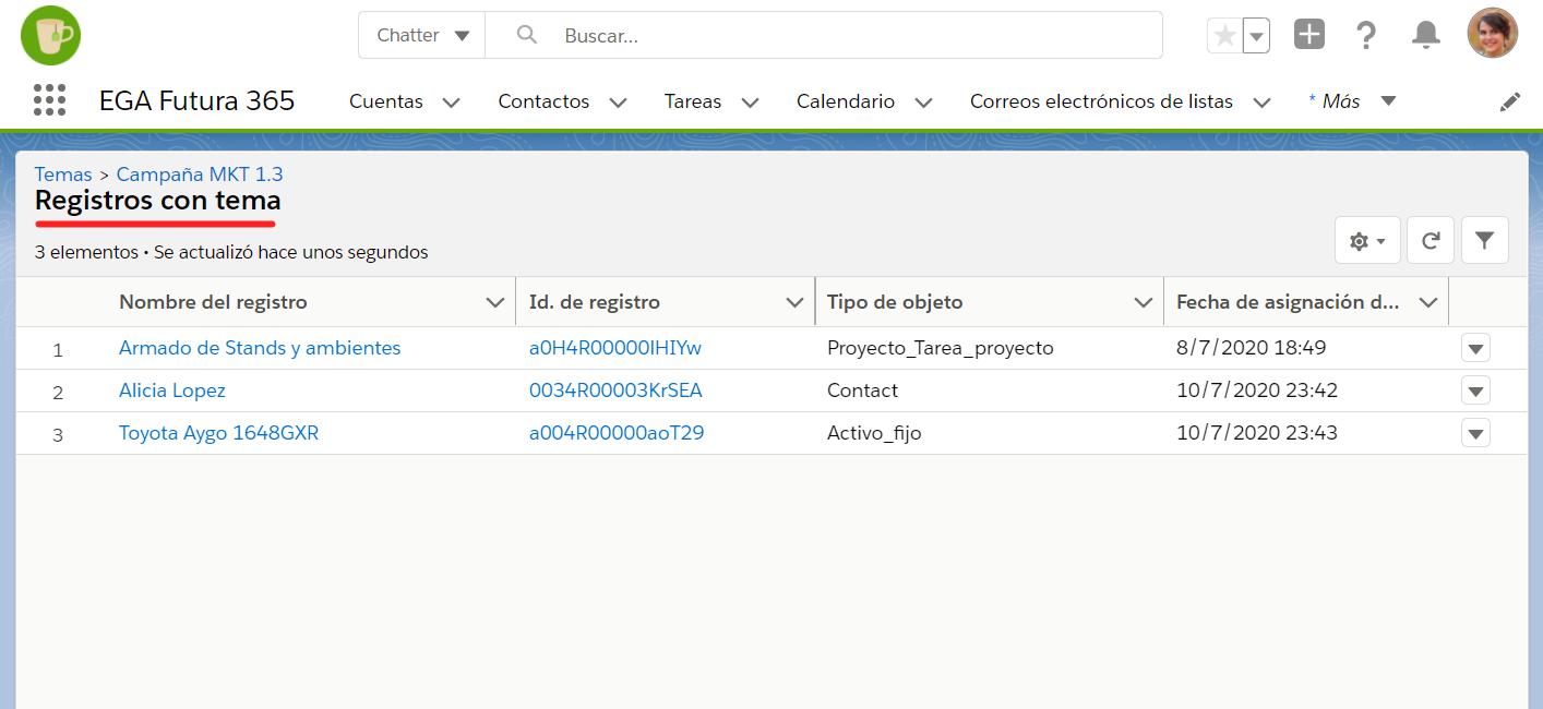 Vista lista registros tema hashtag EGA Futura ERP nube