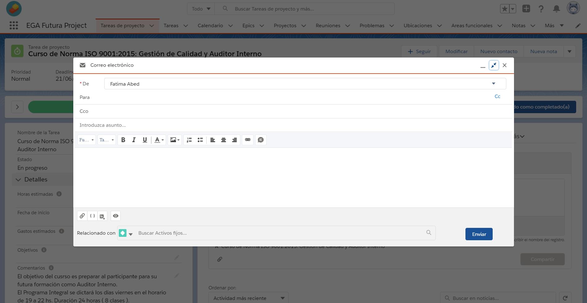 Crear una accion global trabajando a pantalla completa EGA Futura ERP nube