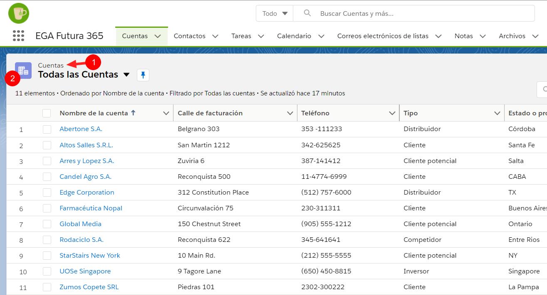 Nombre icono objeto Vista lista EGA Futura ERP nube
