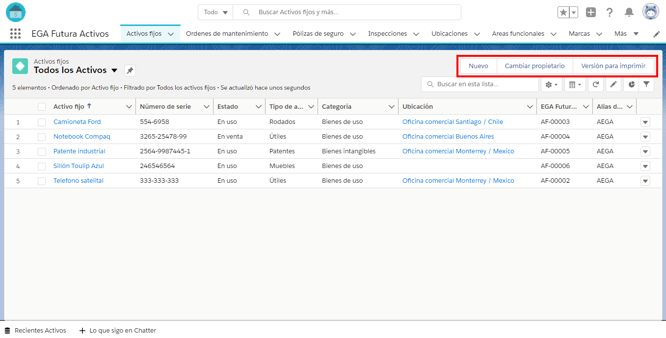 Barra de acciones botones Vista de lista EGA Futura ERP nube