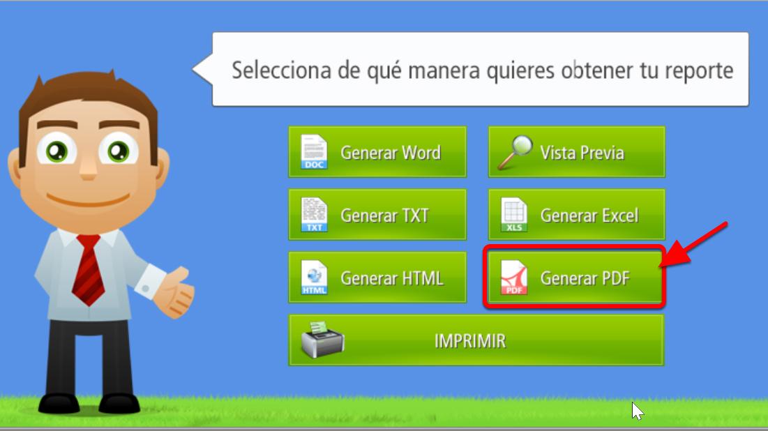 Este es el botón que permite generar Reportes en formato PDF