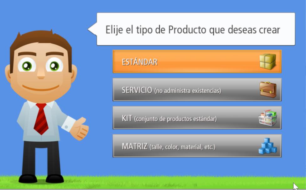 Deberás elegir un tipo de producto para la creación de un Nuevo Producto.