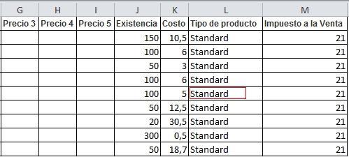 Siguientes Columnas del Archivo Excel que usarás para la importación