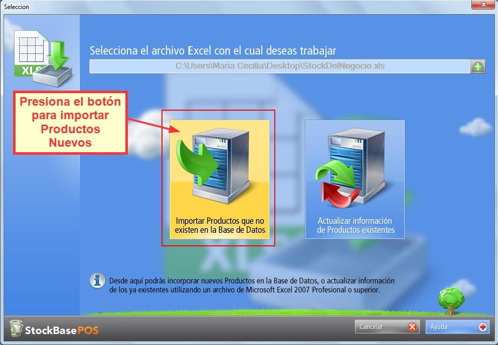 Presiona el botón para importar productos nuevos a la base de datos