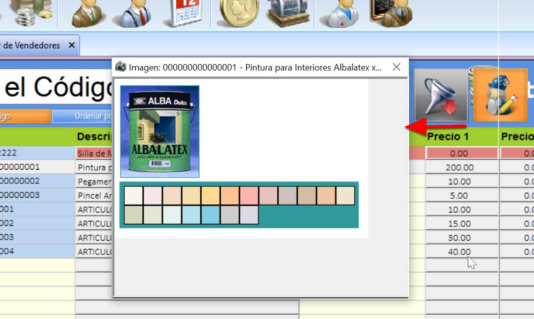La imagen del producto puede verse dando clic sobre el ícono
