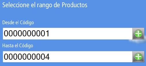 Campos de Selecci贸n de Rango de Productos