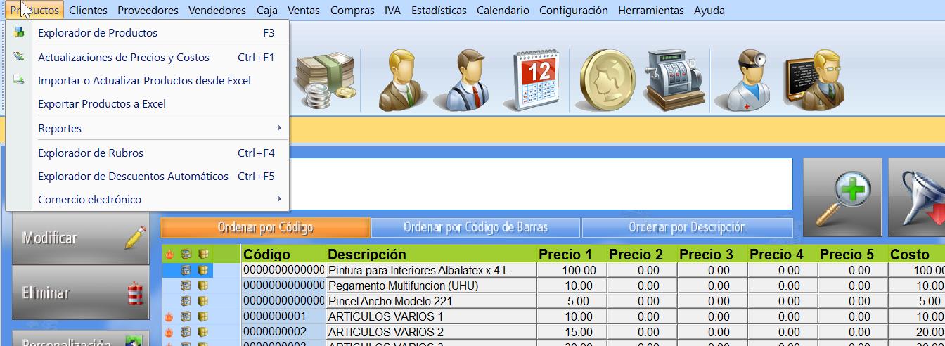 menu programa facturacion