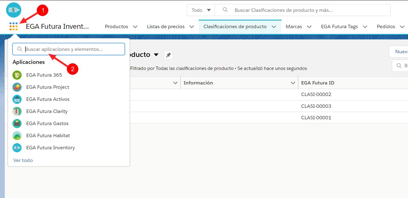 Busqueda elemeto objeto en buscador aplicacion EGA Futura ERP nube