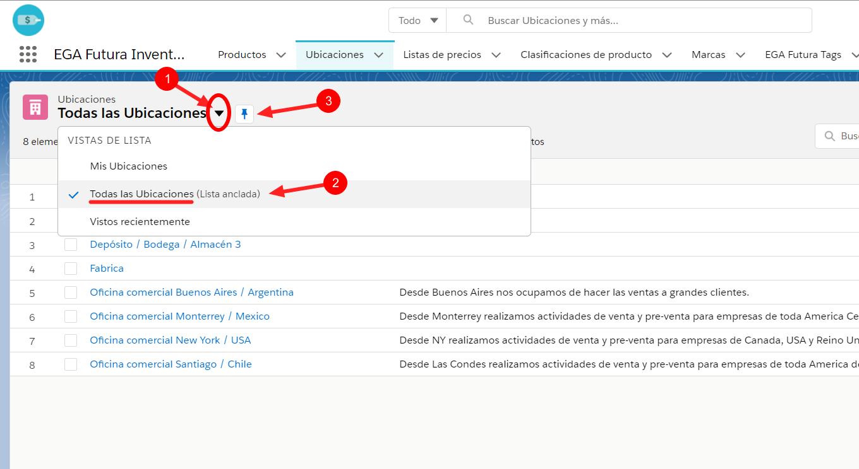 Seleccion vista de lista anclar lista todos registros creacion inventario EGA Futura ERP nube