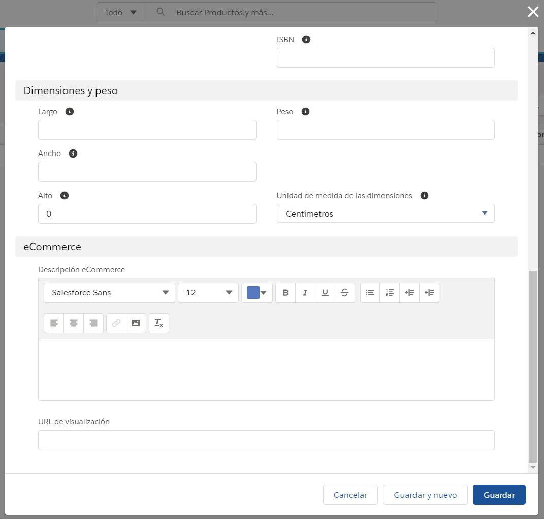 Campos registro nuevo producto inventario stock EGA Futura ERP nube