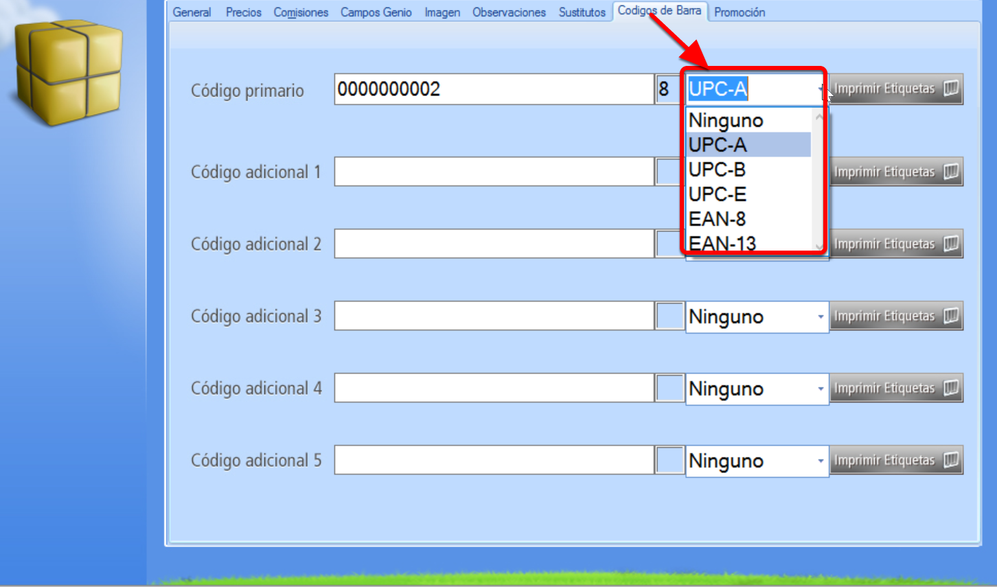 Selección del tipo de código de barras