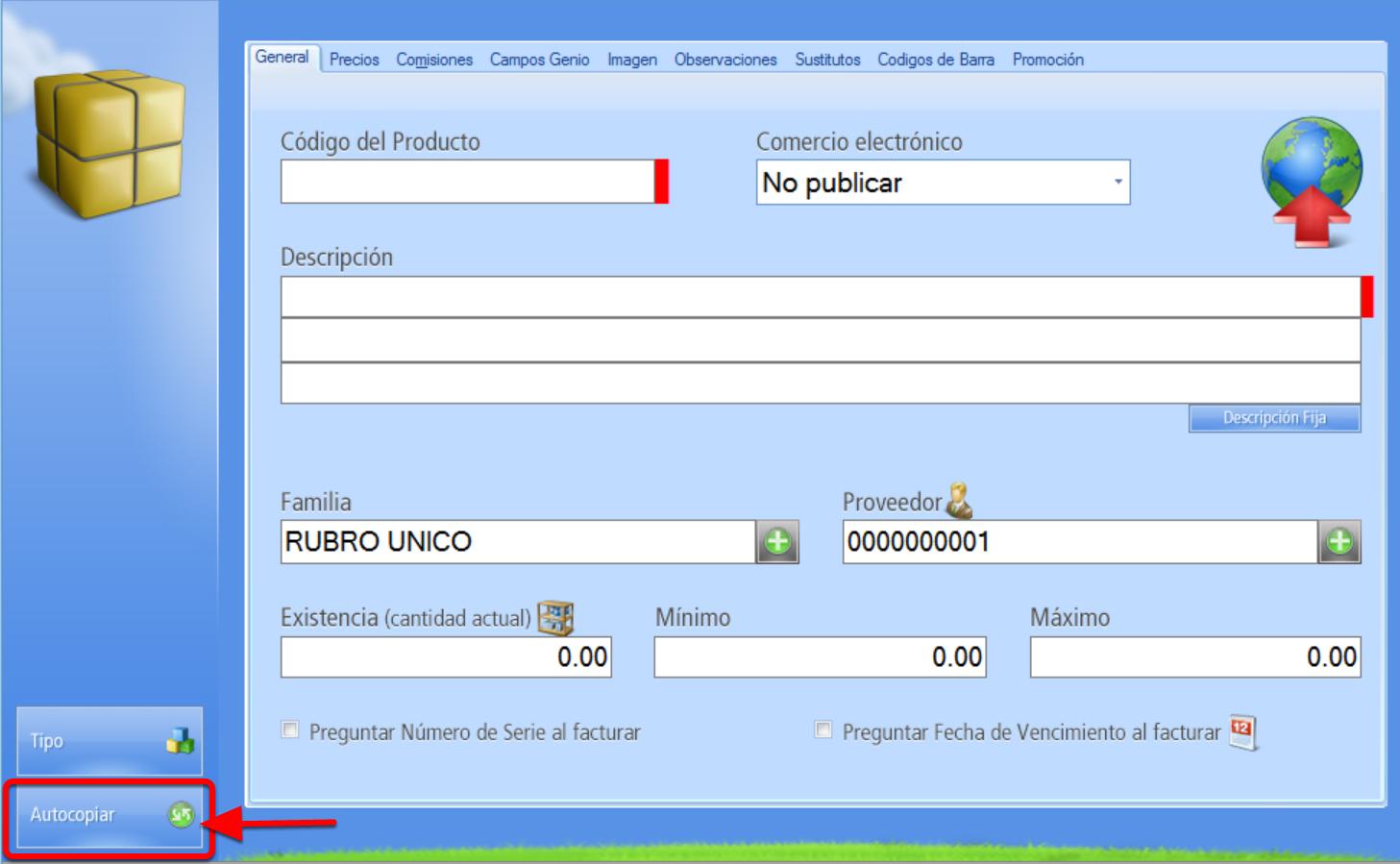Registro de Nuevo Producto - Botón Autocopiar Desactivado