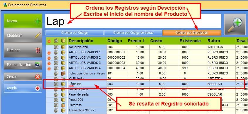 Escribe la descripción del Registro y se resaltará en el explorador