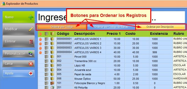 Botones para ordenar registros de la base de datos
