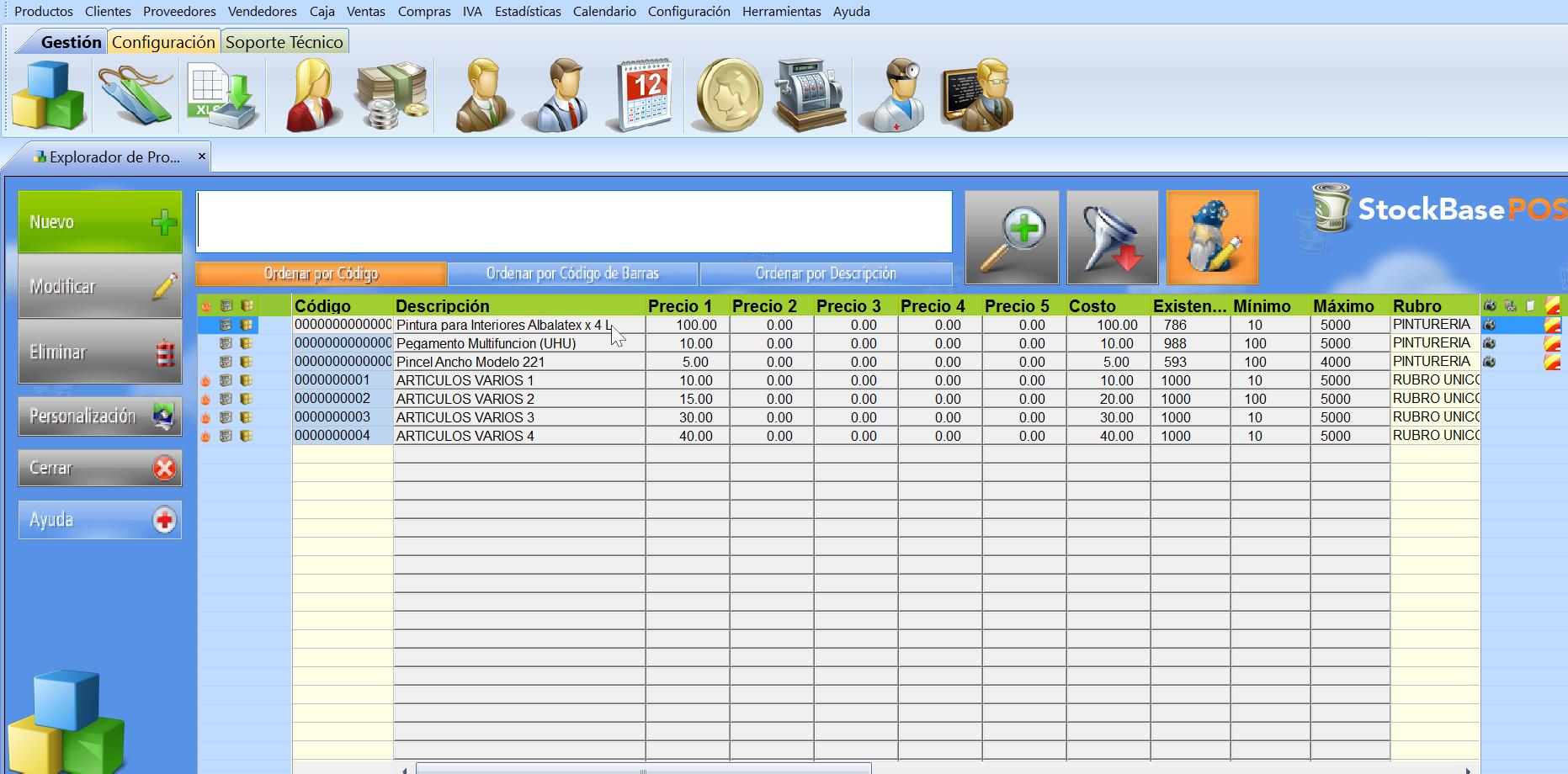 El botón Modificación Rápida permite editar los datos directamente desde el explorador