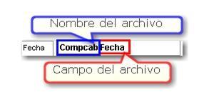 Nombre y campo del archivo