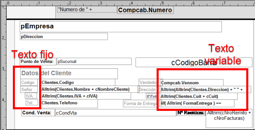 Texto fijo y texto variable de una factura