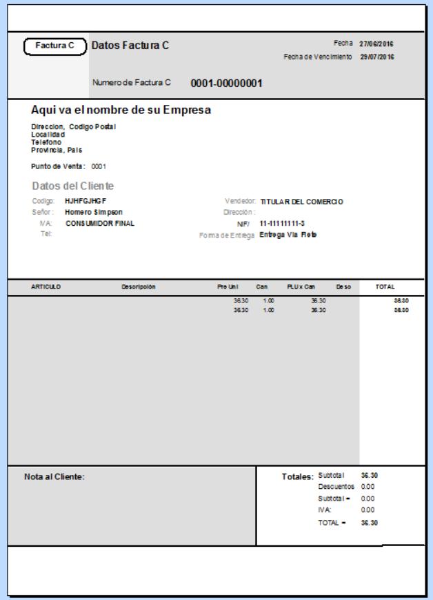 Vista previa del modelo de reporte seleccionado como base del nuevo