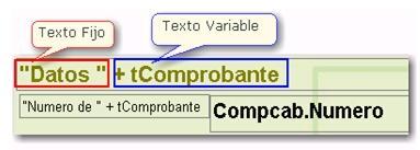 Texto fijo y texto variable