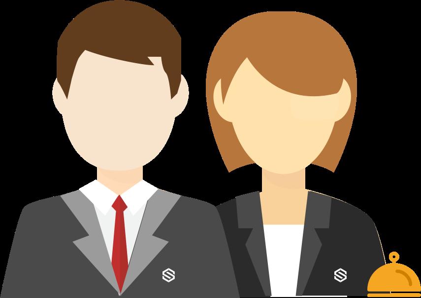Professioneller Pförtnerdienst zwei Personen