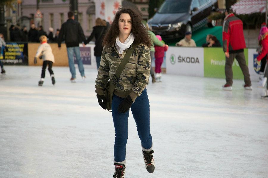woman ice skating at perishing square