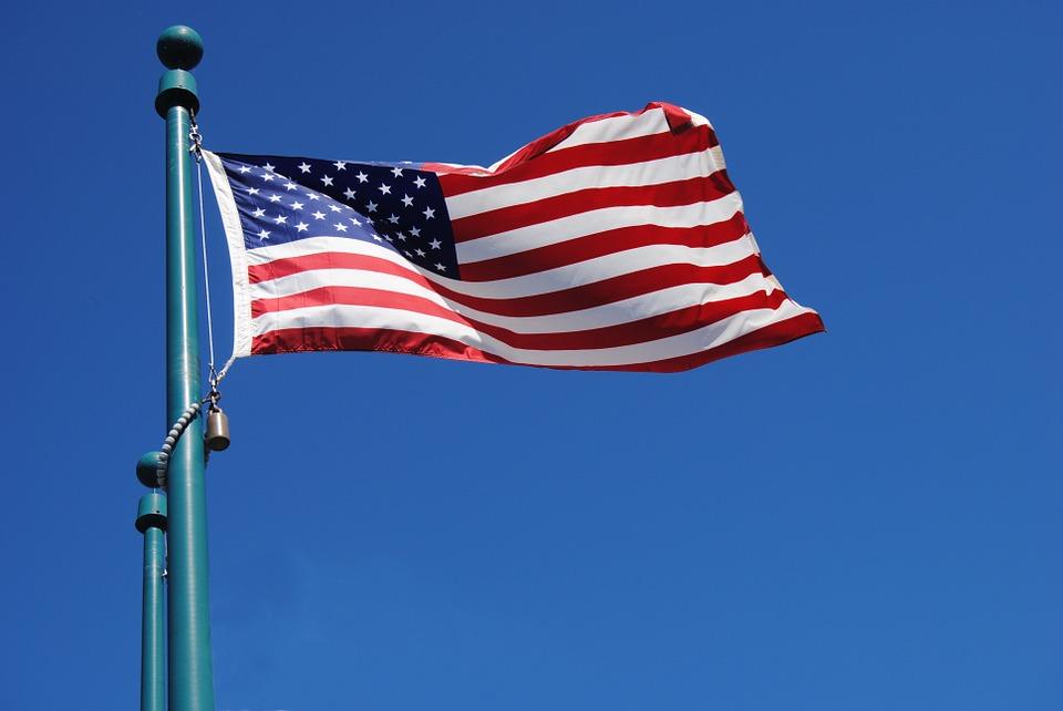 us flag at full mast