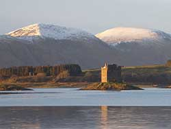 Castle Stalker: just round the corner from The Pierhouse Hotel