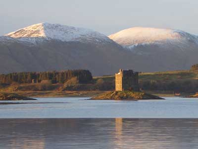 Castle Stalker - just round the  corner from The Pierhouse Hotel and Seafood Restaurant