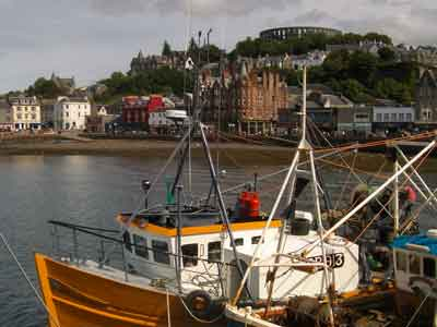 Busy Oban harbour - a short drive from The Pierhouse