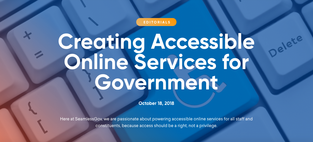 Editorial: Creating Accessible Online Services for Government