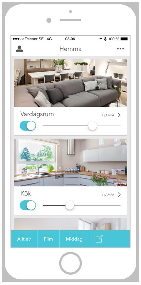 Plejd smart lights iPhone interface