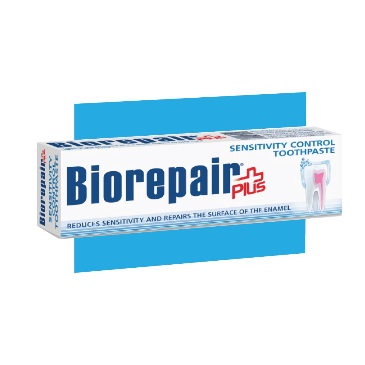 photo of bio repair world only enamel repair sensitivity control toothpaste, happy smile